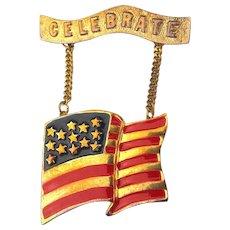 Patriotic Vintage American USA Flag Pin Brooch - Celebrate