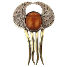 Art Nouveau Sterling Silver Hair Comb w/ Egyptian Amber Scarab