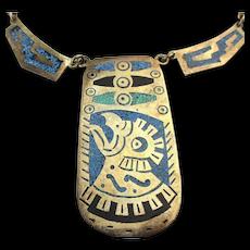 Vintage Mexican Alpaca Chip Inlay Necklace Aztec Bird Head