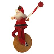 Vintage Carved Wood Mechanical SANTA Unicycle Toy 1950s