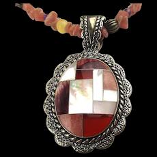 Vintage Relios Southwest Sterling Silver Gemstone Necklace