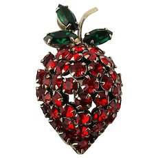 Vintage Warner Strawberry Rhinestone Fruit Pin Brooch