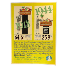 Orig. USA 1944 Cost of Living 1918 - 1944 WWII Poster by F.G. Cooper