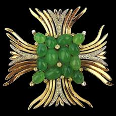 Crown Trifari Jeweled Maltese Cross Pin Brooch