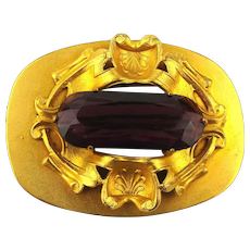 Victorian Gilt Sash Pin w/ Big Amethyst Stone Art Nouveau