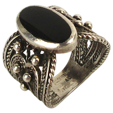 Old Wide Mexican Sterling Silver Ring w/ Black Onyx