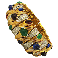 Pierre Cardin Big Opulent Jewel Studded Rhinestone Bracelet