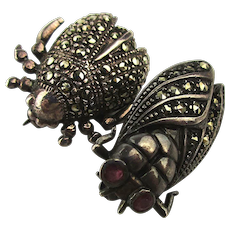 Pair of Marcasite Sterling Silver Bug Pins Insect Pin