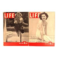 Two 1939 LIFE Magazines - College Girl Fads - Diana Barrymore - Great Ads