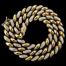 Vintage Gilded Sterling Silver Sleek Slinky Link Necklace