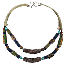 Vintage African Tribal Necklace w/ Venetian Millefiori Beads Hammered Silver