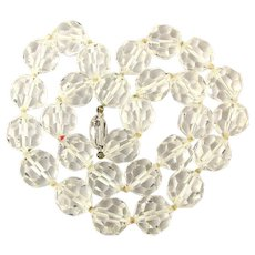 S.A.L. Swarovski Faceted Rock Crystal Bead Necklace 12mm Beads