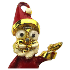 Vintage Googly-Eye Enamel Santa Claus Pin Brooch
