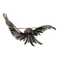 Joan Rivers Swooping Rhinestone Bird Pin Brooch Enamel - Stained Glass Effect