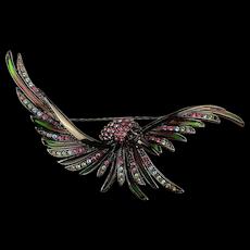 Joan Rivers Swooping Rhinestone Bird Pin Brooch Enamel - Stained Glass Effect