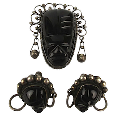 Mexican Sterling Silver Black Onyx Mask Face Set Pin - Earrings
