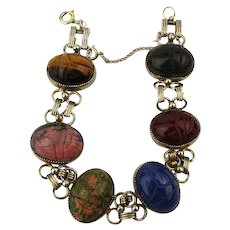 Gold-Filled Carved Gemstone Scarab Bracelet Jasper Lapis Tigereye More