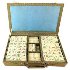 Vintage MahJong Set Bone / Bamboo w/ Betting Sticks in Box