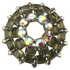 Big Aurora Borealis w/ Clear Taupe Glass Rhinestone Pin Brooch