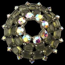 Big Aurora Borealis w/ Clear Taupe Glass Rhinestone Pin Brooch