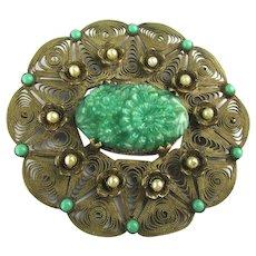 Large 1920s Brass Filigree Pin w/ Carved Green Czech Glass