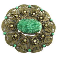 Large 1920s Brass Filigree Pin w/ Carved Green Czech Glass