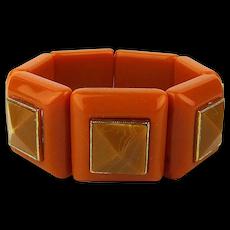 Vintage Bakelite-Like Butterscotch 2-Tone Stretch Bracelet
