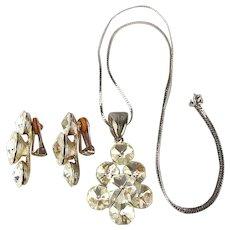 Vintage Signed Crystal Pendant Necklace Earrings Set