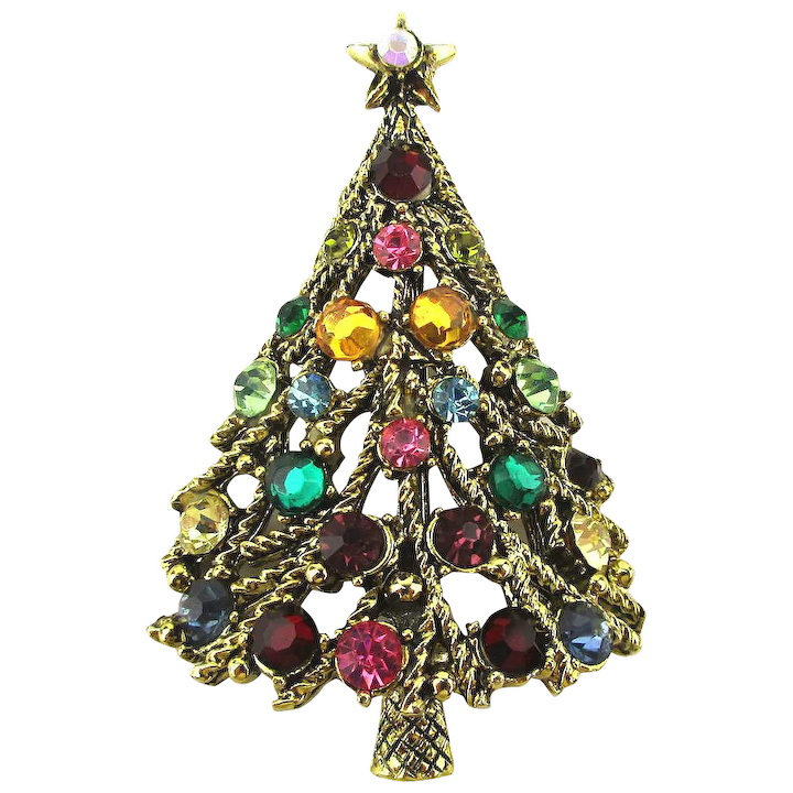 ce68e2099 Vintage HOLLYCRAFT Rhinestone Christmas Tree Pin Brooch : GreatVintageStuff  | Ruby Lane