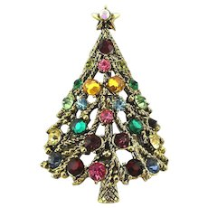 Vintage HOLLYCRAFT Rhinestone Christmas Tree Pin Brooch