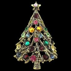 Vintage HOLLYCRAFT Rhinestone Christmas Tree Pin Brooch