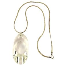 Hunk of Slanted Crystal Pendant Sterling Silver Necklace Rhomboid