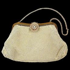 Whiting & Davis White Enamel Mesh Handbag w/ Rhinestone Clasp
