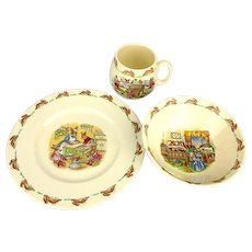 Vintage Royal Doulton Bunnykins 3 Piece Childs Set Plate Mug Bowl in Box