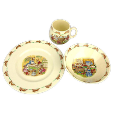 Vintage Royal Doulton Bunnykins 3 Piece Childs Set Plate Mug Bowl in Box