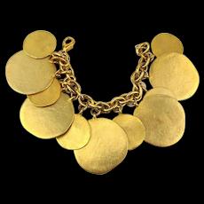 Vintage Kenneth Lane Hammered Gilt Disk Medallion Charm Bracelet