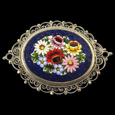 Italian Micro Mosaic Tile Floral Pin Brooch Filigree Frame