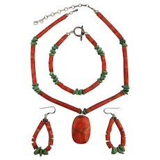 Coral Turquoise Sterling Silver 3 Pc Set Necklace Bracelet Earrings