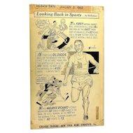 Original 1962 Sports Comic Art by Lenny Hollreiser Chicago Tribune