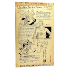 Original 1962 Sports Comic Art by Lenny Hollreiser Chicago Tribune