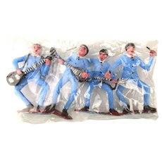 Vintage 1960s BEATLES Plastic Cake Toppers Set in Orig. Cello
