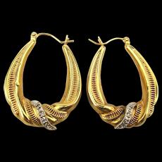 Vintage Estate 14K Yellow Gold Hoop Earrings w/ Diamonds