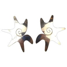 Modernist Signed Taxco Sterling Silver Earrings - Big Free-Form Shapes