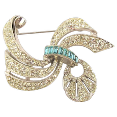 Art Deco Rhodium Plated Pave Rhinestone Pin w/ Dangle