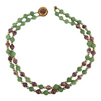 Unique 1950s Hattie Carnegie Gemstone Bead Necklace