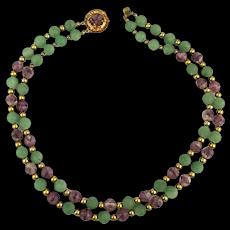 Unique 1950s Hattie Carnegie Gemstone Bead Necklace