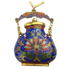 Colorful Cloisonne Enamel Pendant Necklace Chinese Snuff Bottle Pill Box