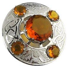Big Scottish Citrine Glass Celtic Knot Thistle Pin Brooch