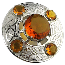 Big Scottish Citrine Glass Celtic Knot Thistle Pin Brooch