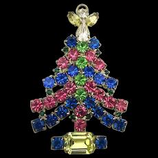 Big Crystal Rhinestone Christmas Tree Pin Brooch Angel Topper